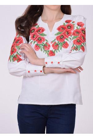 Блузка «Маки» з червоною вишивкою