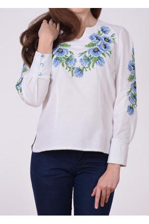 Блуза «Маки» с голубой вышивкой