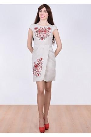 ac347350162129 Сукня «Роксолана» світло-сірого кольору – з вишивкою, льон, купити в ...