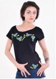 Футболка «Яблуневий цвіт» чорна з синьою вишивкою