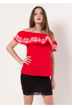 Вышиванка «Цветочные кораллы» красная