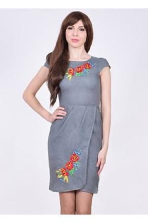 Платье «Полесье» темно-серое