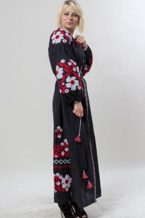 Платье «Пражский букет» черного цвета