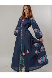 Платье «Парижская роза» темно-синего цвета