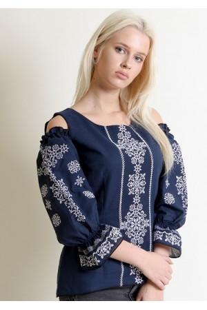 Вишиванка «Аура ночі» темно-синього кольору з білою вишивкою