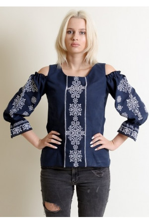 Вышиванка «Аура ночи» темно-синего цвета с белой вышивкой