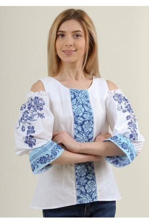 Вишиванка «Аура квітів» білого кольору з блакитними вставками
