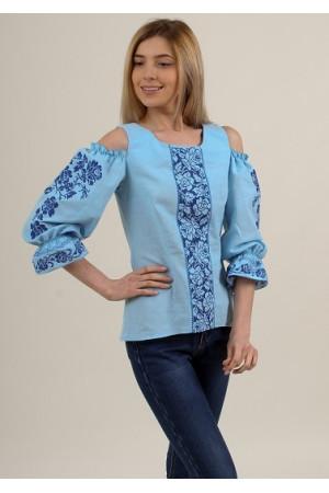 Вышиванка «Аура цветов» голубого цвета с синим орнаментом