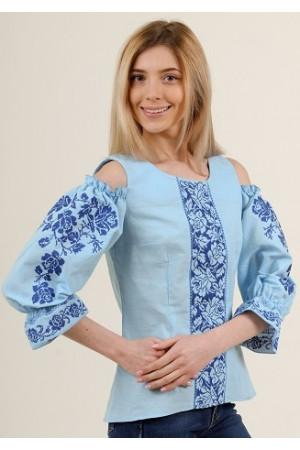 Вишиванка «Аура квітів» блакитного кольору з синім орнаментом