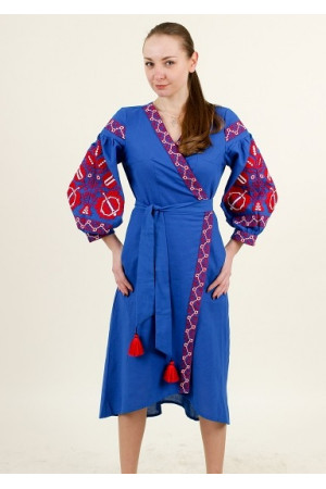 Платье-халат «Дерево жизни» цвета электрик