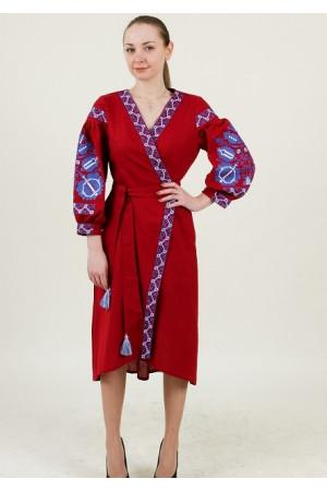 Платье-халат «Дерево жизни» бордового цвета