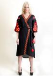 Сукня-халат «Дерево життя» чорного кольору