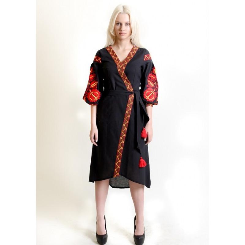 9f010eabb24cf8 Сукня-халат Дерево життя чорного кольору 180-9159 (5651624) за ...