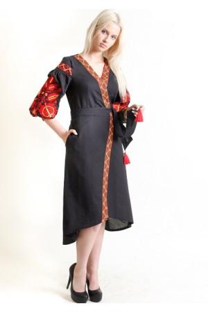 Платье-халат «Дерево жизни» черного цвета