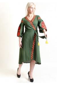 Сукня-халат «Дерево життя» темно-зеленого кольору