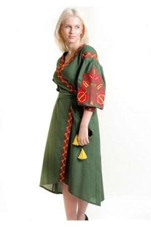 Платье-халат «Дерево жизни» темно-зеленого цвета