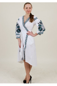 Сукня-халат «Дерево життя» білого кольору