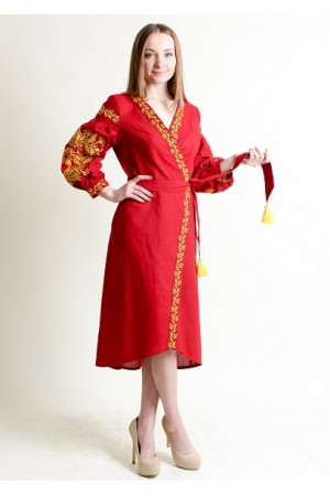 Платье-халат «Ява» красного цвета