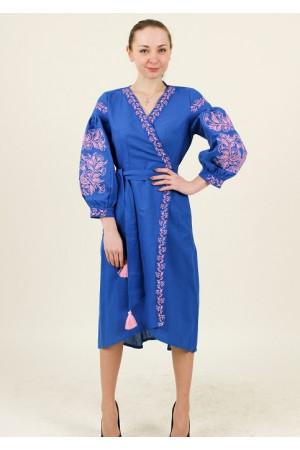 Платье-халат «Ява» цвета электрик