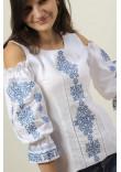 Вишиванка «Аура ночі» біла з синім