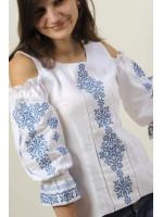 Вышиванка «Аура ночи» белая с синим