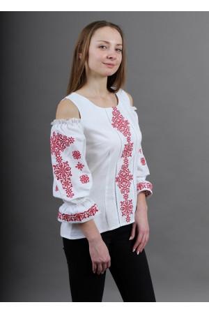 Вышиванка «Аура ночи» белая с красным