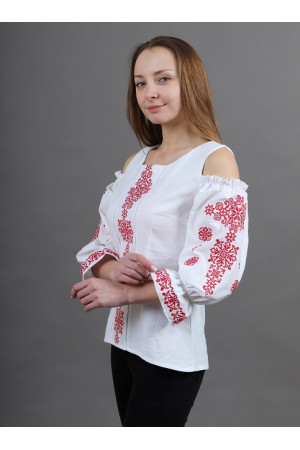 Вишиванка «Аура ночі» біла з червоним
