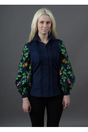 Вышиванка «Непокоренная» темно-синего цвета с оранжевыми цветами