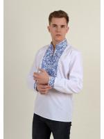 Вышиванка «Життеслав» белого цвета с синей вышивкой