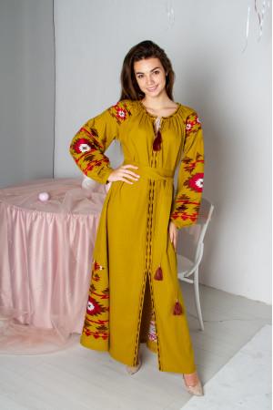 Платье «Калейдоскоп» горчичного цвета