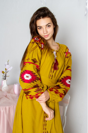 Сукня «Калейдоскоп» гірчичного кольору