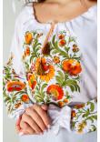 Вишиванка «Писанка» білого кольору з помаранчевою вишивкою