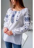 Вишиванка «Діва» білого кольору з синьою вишивкою
