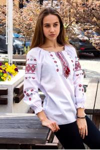 Вишиванка «Діва» білого кольору з червоною вишивкою