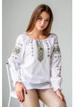 Вишиванка «Діва» білого кольору з оливковою вишивкою