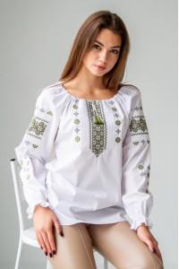 Вышиванка «Дива» белого цвета с оливковой вышивкой