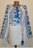 Вишиванка «Подільська ружа» з блакитною вишивкою