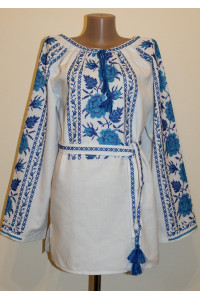 Вышиванка «Подольская ружа» с голубой вышивкой