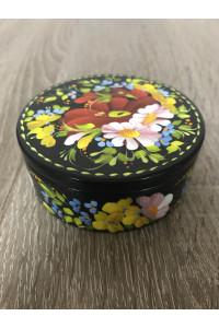 Шкатулка с росписью цветочным орнаментом в украинском стиле (маленькая)