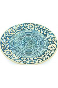Блакитна пиріжкова тарілка «Віночок» (17 см)