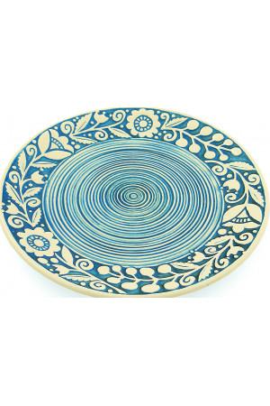 Голубая пирожковая тарелка «Веночек» (17 см)