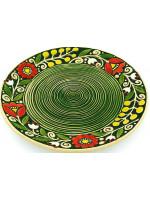 Зелена пиріжкова тарілка «Віночок» (17 см)