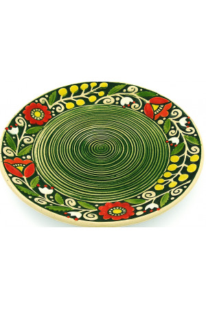 Зеленая пирожковая тарелка «Веночек» (17 см)