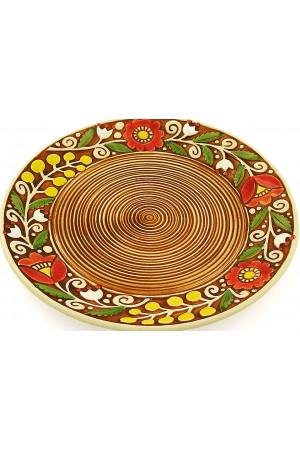 Коричневая пирожковая тарелка «Веночек» (17 см)