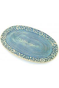 Блакитна овальна таріль «Віночок» (33 см)