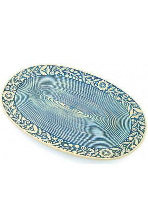 Голубое овальное блюдо «Веночек» (33 см)