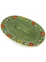 Зелена овальна таріль «Віночок» (33 см)
