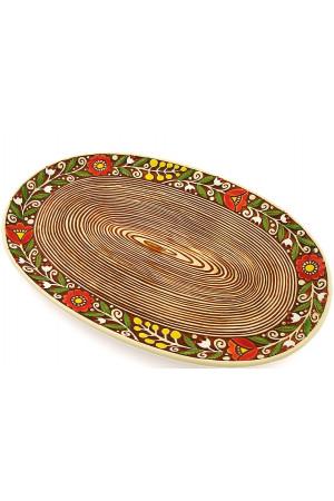 Коричневое овальное блюдо «Веночек» (33 см)
