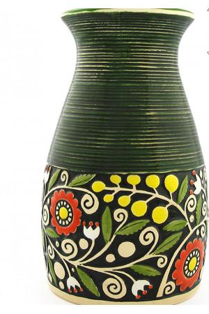 Зеленая ваза «Веночек» (23 см)
