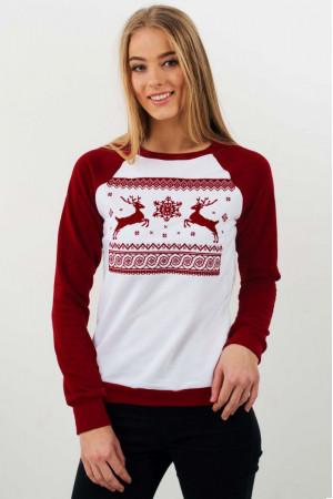 Світшот жіночий «Різдвяний» білого кольору